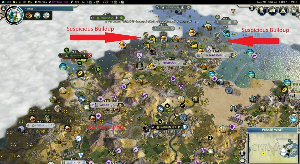 The Iroquois mass along my northern border while my main army fights Greece in the southwest.