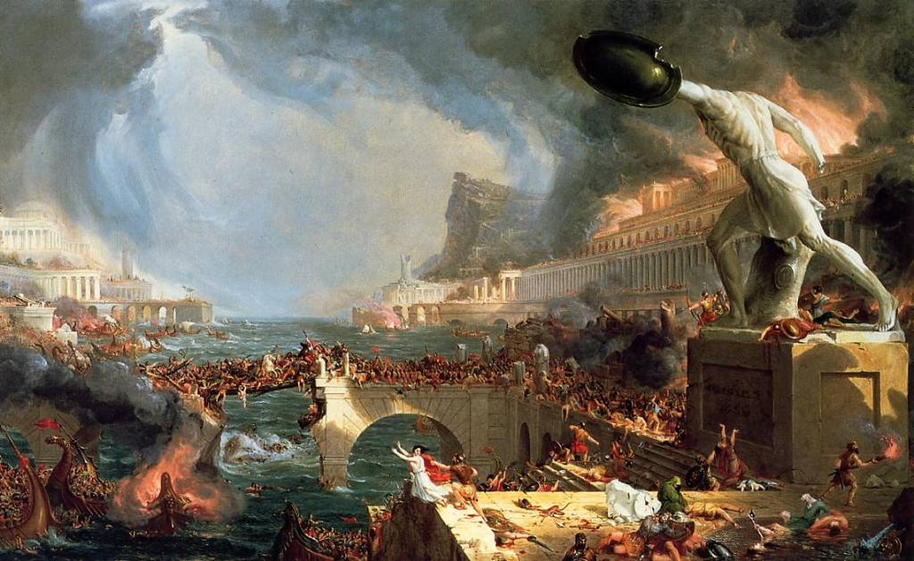 This painting seemed appropriate: &quot;The Course of Empire - Destruction&quot;, by Thomas Cole, 1836